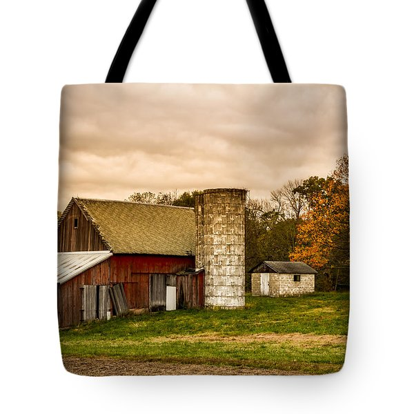 Old Red Barn And Silo Tote Bag