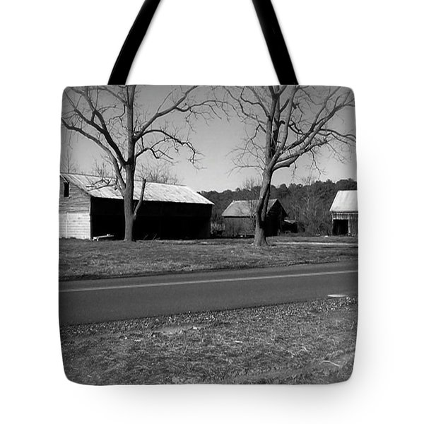 Old Red Barn In Black And White Tote Bag by Amazing Photographs AKA Christian Wilson