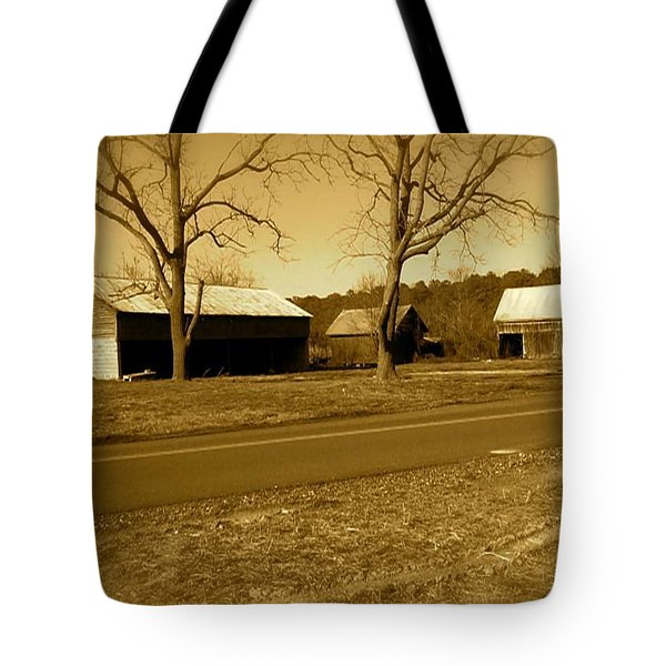 Old Red Barn In Sepia Tote Bag by Amazing Photographs AKA Christian Wilson