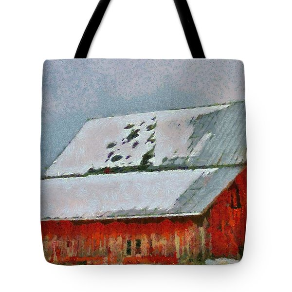 Old Red Barn In Winter Tote Bag by Dan Sproul