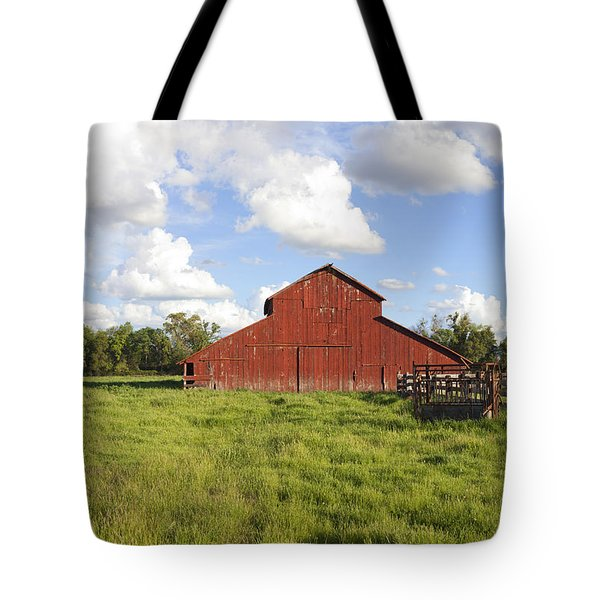 Tote Bag featuring the photograph Old Red Barn by Mark Greenberg