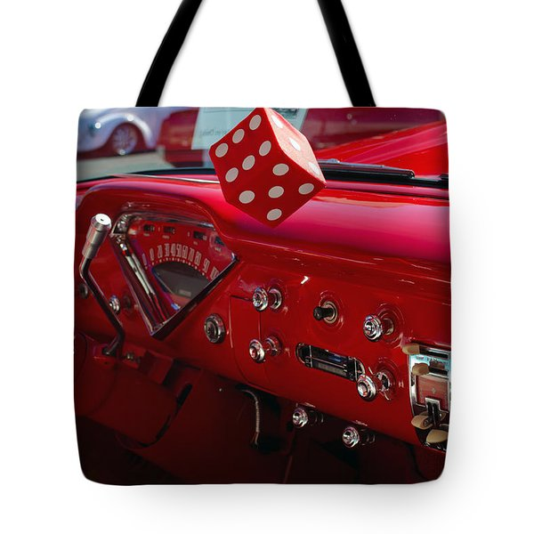 Tote Bag featuring the photograph Old Red Chevy Dash by Tikvah's Hope