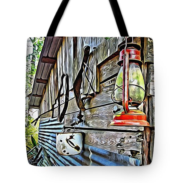 Old Rustic Building - Aunt Tinys Shed  Tote Bag by Rebecca Korpita