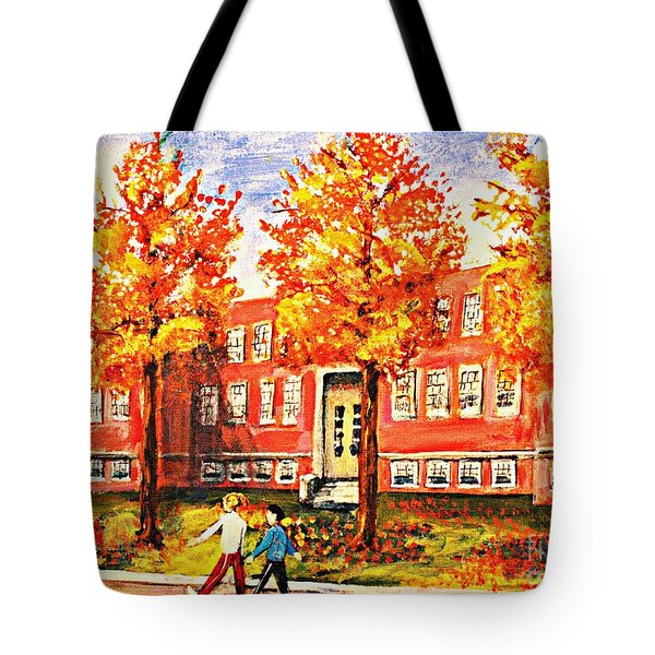 Tote Bag featuring the painting Old Saint Mary's High School In Fall by Rita Brown