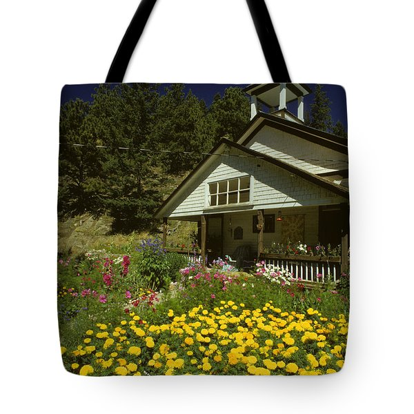 Old Schoolhouse And Garden. Tote Bag