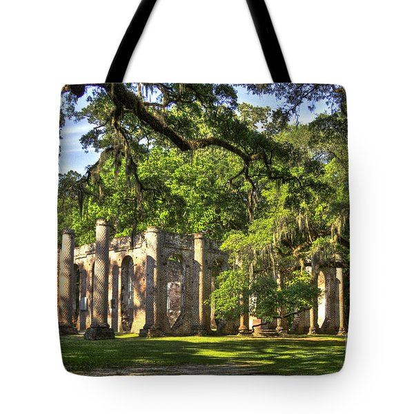 Old Sheldon Church Ruins Tote Bag by Reid Callaway