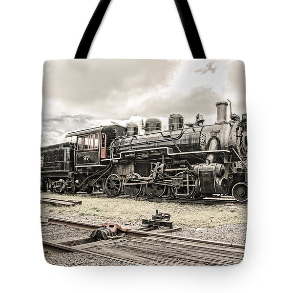 Tote Bag featuring the photograph Old Steam Locomotive No. 97 - Made In America by Gary Heller