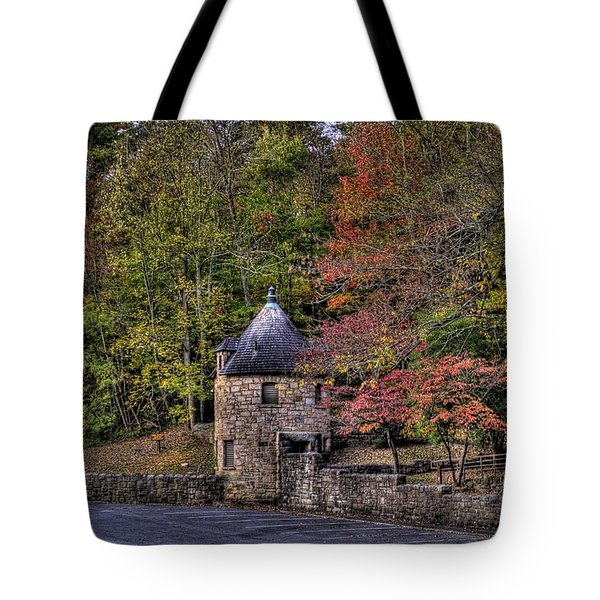 Tote Bag featuring the photograph Old Stone Tower At The Edge Of The Forest by Jonny D