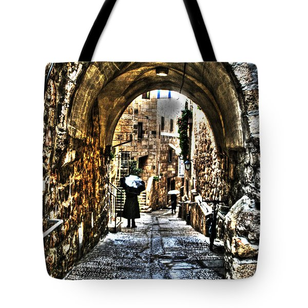 Tote Bag featuring the photograph Old Street In Jerusalem by Doc Braham