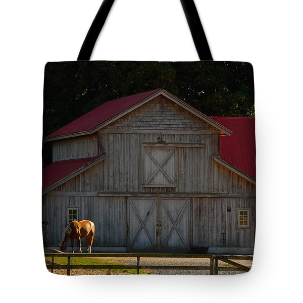 Tote Bag featuring the photograph Old-style Horse Barn by Jordan Blackstone