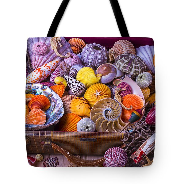 Old Suitcase With Seashells Tote Bag