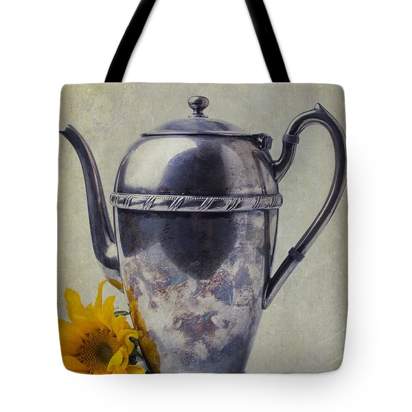 Old Teapot With Sunflower Tote Bag by Garry Gay