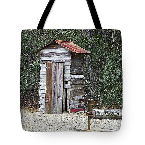 Old Time Outhouse And Pitcher Pump Tote Bag by Al Powell Photography USA