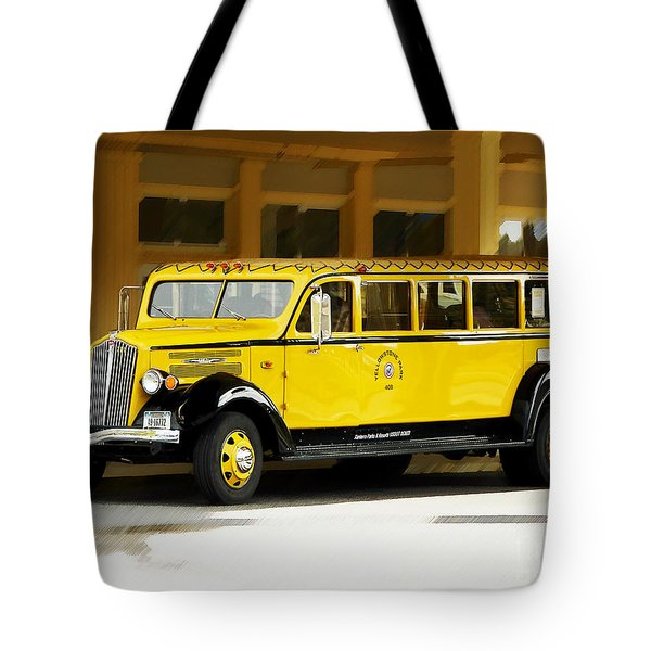 Tote Bag featuring the photograph Old Time Yellowstone Bus by David Lawson