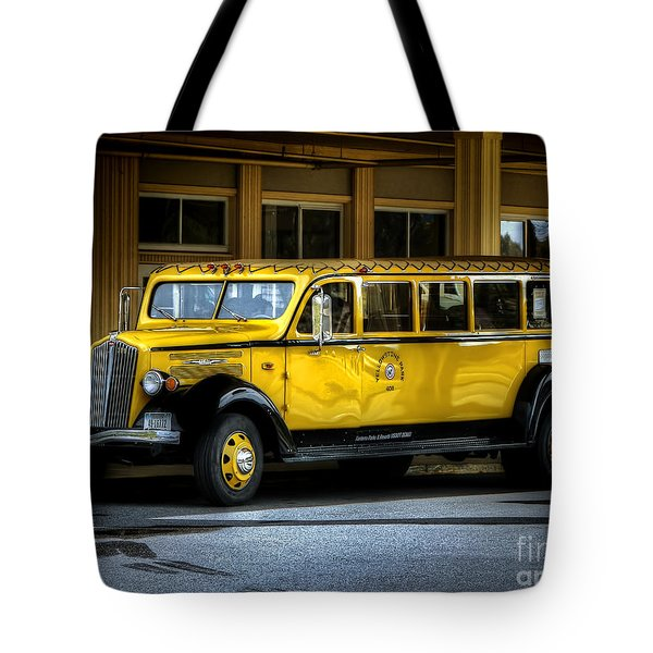Old Time Yellowstone Bus II Tote Bag by David Lawson