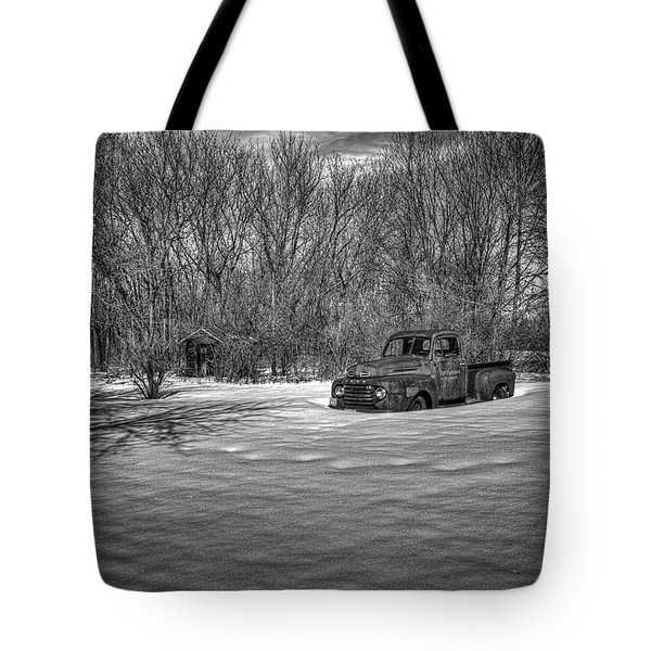 Old Timer In The Snow Tote Bag