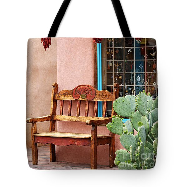 Old Town Albuquerque Shop Window Tote Bag by Catherine Sherman