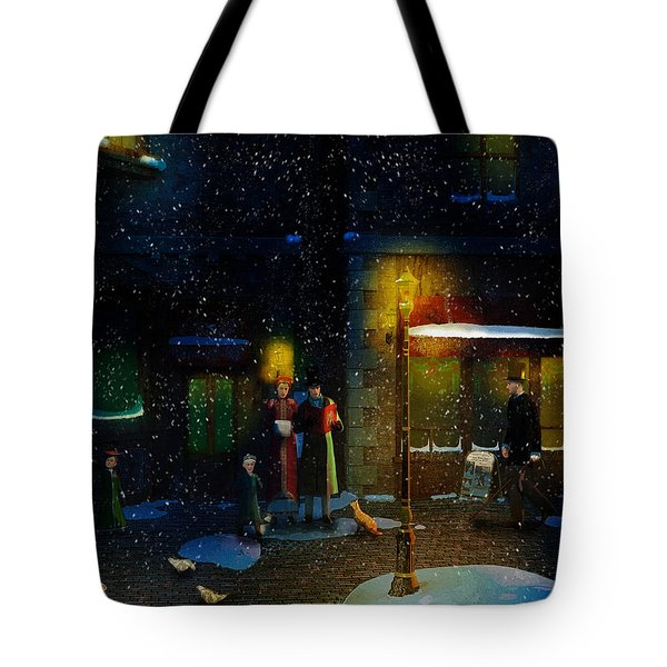 Old Town Christmas Eve Tote Bag by Ken Morris