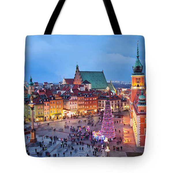 Old Town In Warsaw At Night Tote Bag