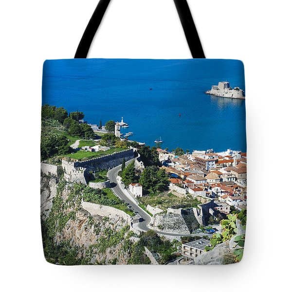 Old Town Nafplio And Ruins Tote Bag
