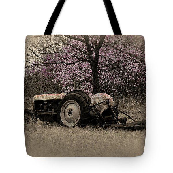 Old Tractor And Redbuds Sepia Tote Bag
