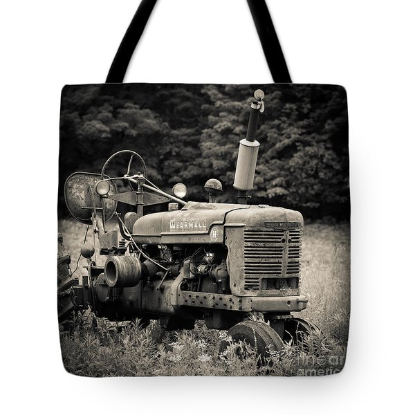 Old Tractor Black And White Square Tote Bag by Edward Fielding