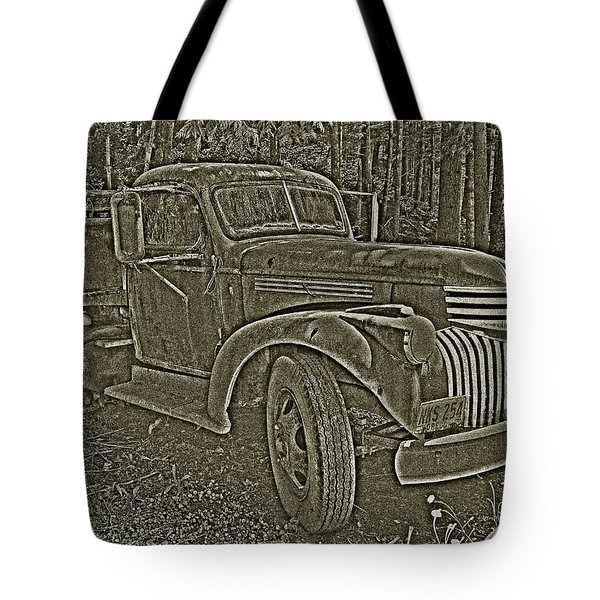 Tote Bag featuring the photograph Old Truck In Sepia by Betty Depee