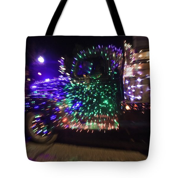 Old Truck With Christmas Lights Tote Bag