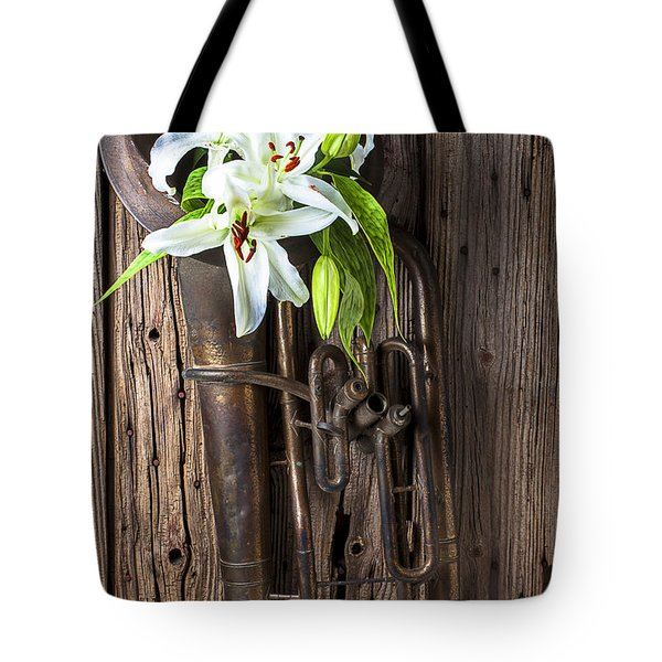 Old Tuba And White Lilies Tote Bag by Garry Gay