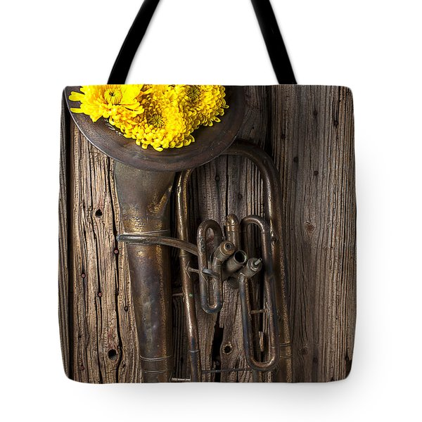 Old Tuba And Yellow Mums Tote Bag by Garry Gay