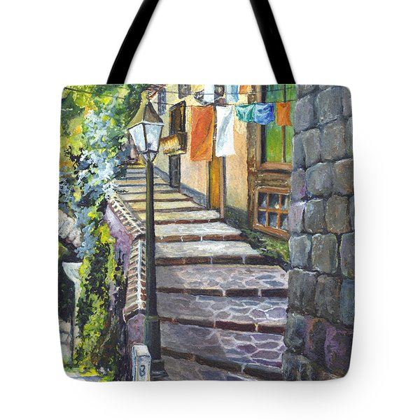 Old Village Stairs - In Tuscany Italy Tote Bag