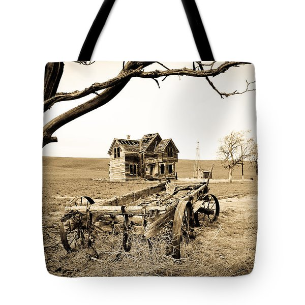 Old Wagon And Homestead II Tote Bag by Athena Mckinzie