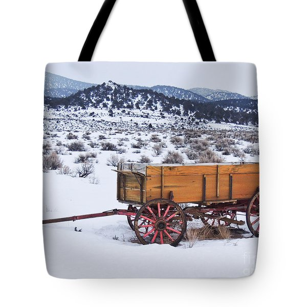 Old Wagon In Snow Tote Bag