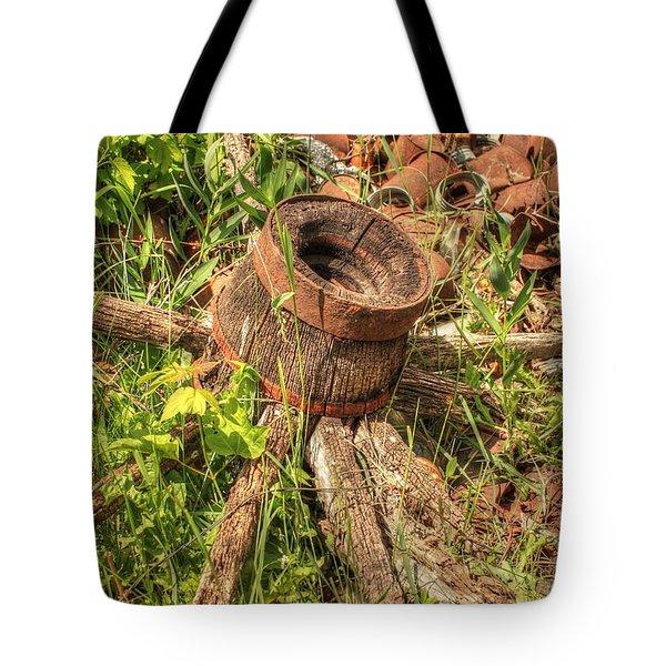 Old Wagon Wheel Tote Bag by Jim Sauchyn