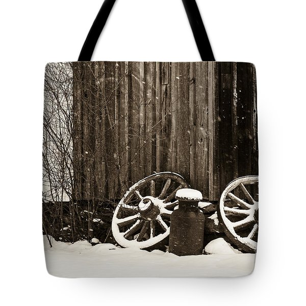 Old Wagon Wheels Tote Bag