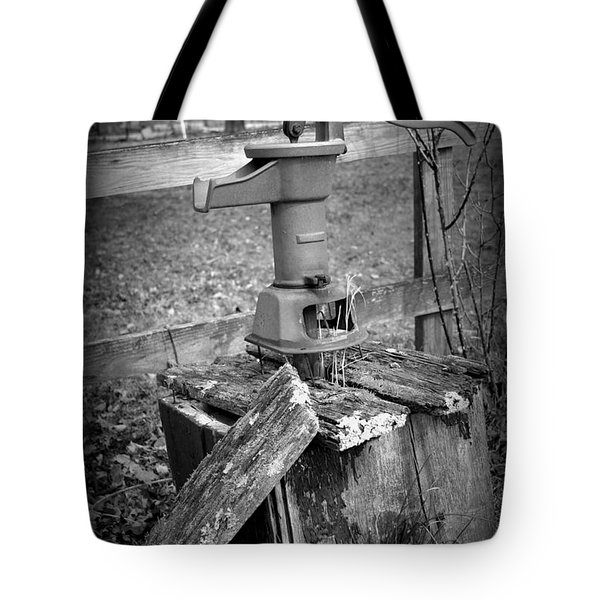 Old Water Pump Bw Tote Bag