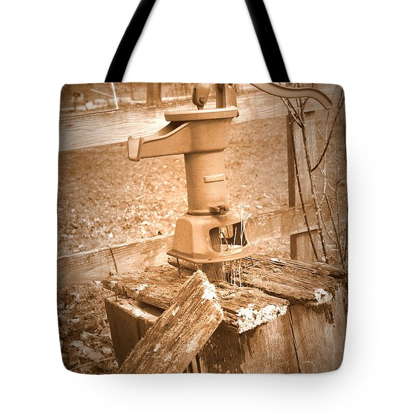 Old Water Pump Sepia Tote Bag