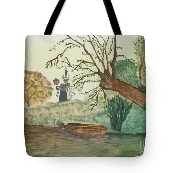 Old Willow And Boat Tote Bag