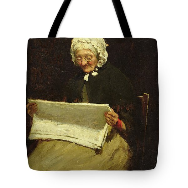 Old Woman Reading A Newspaper, 1895 Tote Bag