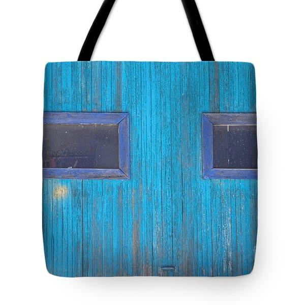 Old Wood Blue Garage Door Tote Bag by James BO  Insogna