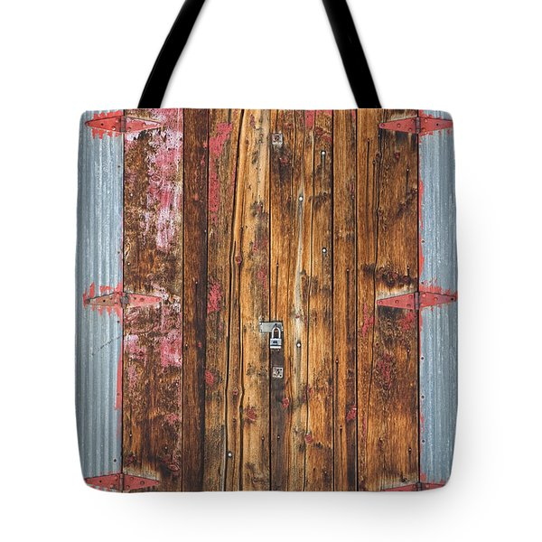 Old Wood Door With Six Red Hinges Tote Bag by James BO  Insogna