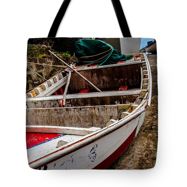 Old Wooden Fishing Boat On Dock  Tote Bag