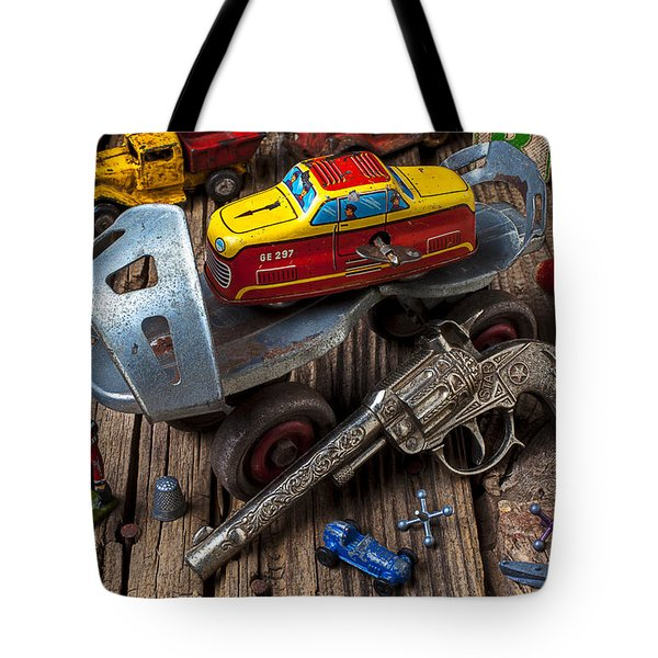 Older Roller Skate And Toys Tote Bag
