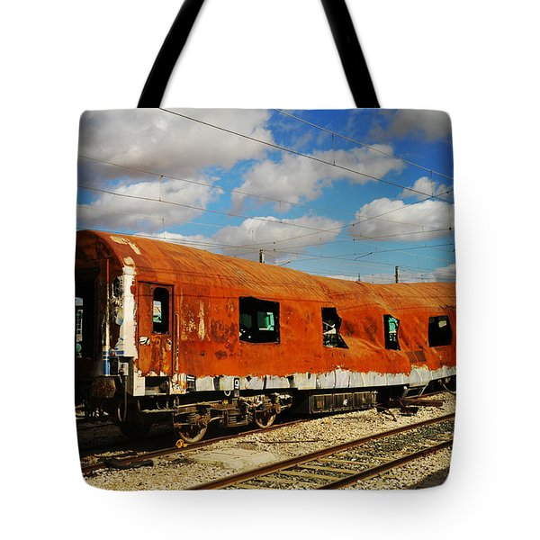 Oldie At Sidetrack Tote Bag by Jenny Rainbow
