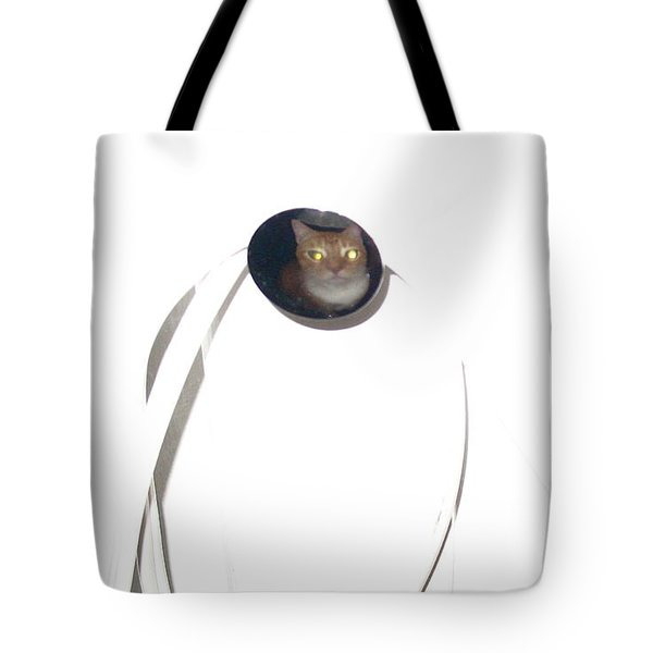 Tote Bag featuring the photograph Olga Cat Reflected In Drawer Knob by Kathy Barney