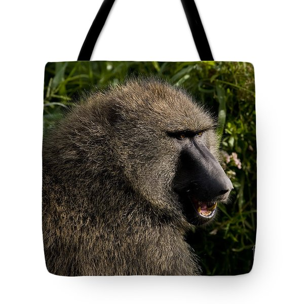 Olive Baboon   #0685 Tote Bag by J L Woody Wooden