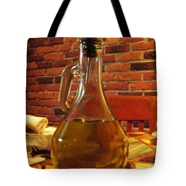 Tote Bag featuring the photograph Olive Oil On Table by Cynthia Guinn
