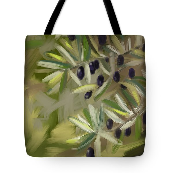 Tote Bag featuring the painting Olive Tree by Go Van Kampen