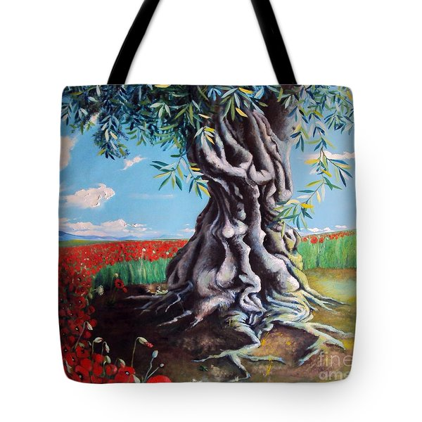 Olive Tree In A Sea Of Poppies Tote Bag by Alessandra Andrisani