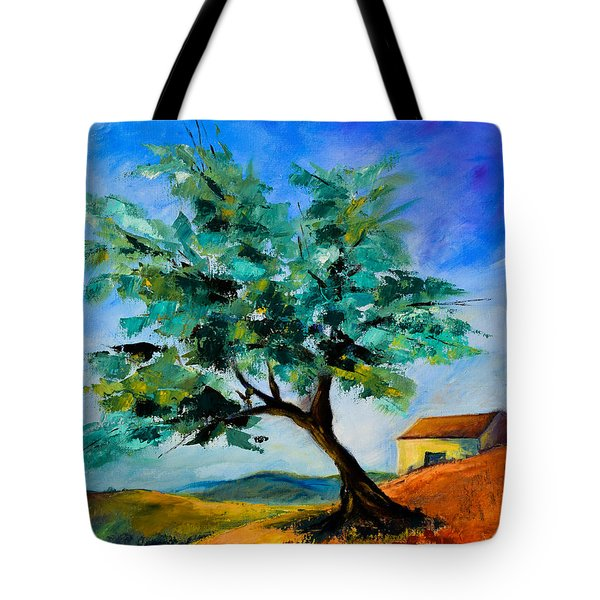Olive Tree On The Hill Tote Bag by Elise Palmigiani